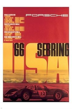 vintage RACING POSTER sebring usa 66 STYLISH COLLECTORS prized 24X36