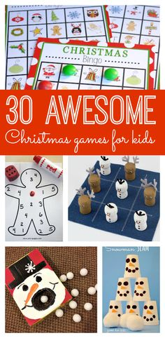 Christmas Bingo for family gathering - If you're looking for great kids games or need some winter boredom busters, you and your family will love these 30 awesome Christmas games for kids! Xmas Games, Christmas Games For Kids, Holiday Games, Holidays With Kids, Holiday Activities, Holiday Crafts, Holiday Fun, Kid Games, Family Activities
