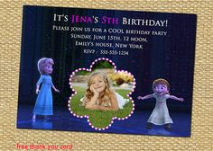 Your place to buy and sell all things handmade Frozen Birthday Invitations, Disney Frozen Birthday, Frozen Party, Party Invitations, 5th Birthday, Birthday Parties, Free Thank You Cards, Anna Frozen, Disney Pixar