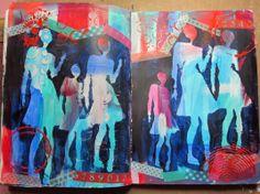 An art journal spread inspired by Dina Wakley.