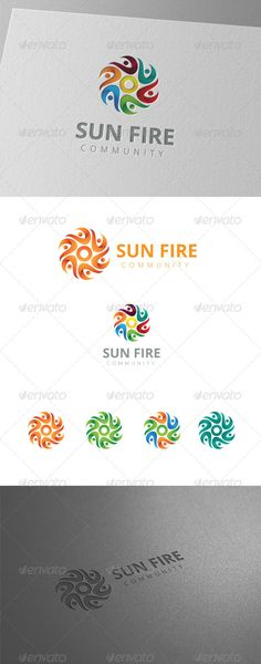 Six Sun Fire People Community Logo — Vector EPS #sun #identity • Available here → https://graphicriver.net/item/six-sun-fire-people-community-logo/8436152?ref=pxcr
