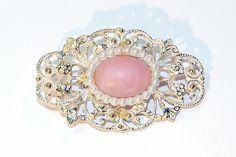 Pink Art Glass Brooch Vintage Gold-tone Feminine Brooch with Whitewash