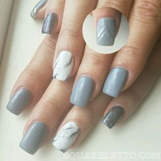 grey and marble nails by squareletto