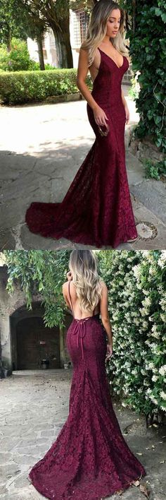 Mermaid Spaghetti Straps Burgundy Lace Backless Prom Dress PG470 #promdress #mermaiddress #partydress #pgmdress #cheapdress #promshoesvintage