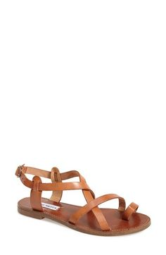Free shipping and returns on Steve Madden 'Agathist' Leather Ankle Strap Sandal (Women) at Nordstrom.com. Those easy, strappy sandals you always wanted for summer? Here they are, in wear-with-anything natural leather, styled with a toe loop and antiqued hardware. Beach, vacation, lunch with friends—you're ready.