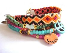 Bohemian hippie bracelet - beads rhinestones and friendship bracelet in turquoise hot pink and orange - gypsy style - indian summer. €78,00, via Etsy.