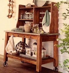 Hutch over potting bench. Love this.
