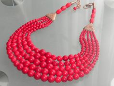 RED NECKLACE. Statement necklace, big, bold, chunky, bronze, copper, cascade, layered, multi-strand, handmade