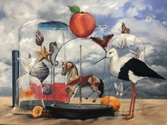 """""""Stilted Conversations - Original Oil Painting - Imaginary Realism"""" by Mia Laing. Paintings for Sale. Bluethumb - Online Art Gallery The Strawberry Thief, Origami Bird, Buy Art Online, Australian Artists, Wildlife Art, Conceptual Art, Paintings For Sale, Artist Art, Online Art Gallery"""