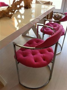 mod pink and chrome chairs, source unknown