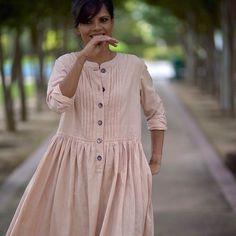 Madrid, Pure handloom cotton Khadi dress in vintage pink