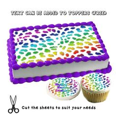 Leopard or cheetah rainbow print pattern birthday edible cake toppers! Custom picture sugar frosting paper images sayings easy fur skin Cheetah Birthday Cakes, Neon Birthday Cakes, Cheetah Cakes, Leopard Cake, Birthday Sheet Cakes, Frozen Birthday Cake, Birthday Cake Girls, 8th Birthday, Birthday Ideas