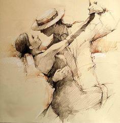 based in us since 1993 Figure Sketching, Figure Drawing, Painting & Drawing, Pencil Art Drawings, Art Drawings Sketches, Arte Grunge, Tango Art, Dancing Drawings, Dance Paintings