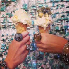 Stephen Dweck Icy Diamond collection served with ice cream. Cheers! #rings #bracelets