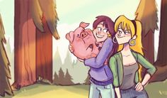 Gravity Falls Inspired Art // Mabel, Pacifica and Waddles