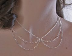 Peter Pan Collar Necklace Silver Collar by FULLMOONJEWELLERY, $19.00