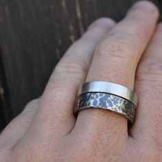hammered ring mens unique wedding band 5.5mm wide by LolaAndCash