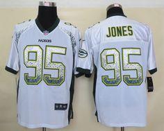 Men's NFL Green Bay Packers #95 Jones Drift Fashion White