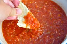 Mexican Restaurant Salsa Copy-Cat Recipe: 1 can Rotel (10 ounce can of tomatoes and chilies) 1 can Diced tomatoes (14.5 ounce can) 1 tablespoon Jarred Jalapenos 1/4 onion 1/2 teaspoon cumin 1/2 teaspoon garlic powder or two garlic gloves 1/2 teaspoon salt 1/4 teaspoon sugar