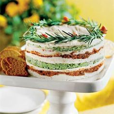 Layered Sun-dried-Tomato-and-Basil Spread AB: A must! Everyone loved! If possible cut in half and make in a smaller dish. @southernliving