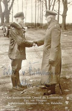 Red Baron accepting congratulations from Ernst von Hoeppner General of the German Air Strike Forces. (autograph)