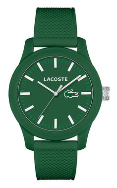 Lacoste Mens Green Silicone Strap Watch 2010763 -- You can get additional details at the image link. (This is an affiliate link) Gents Watches, Sport Watches, Cool Watches, Watches For Men, Wrist Watches, Perfume Diesel, Lacoste Sport, Lacoste Men, Men Watches
