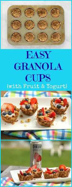 Check out these easy granola cups filled with Greek yogurt, fresh fruit and chia seeds for a refreshing afternoon snack or breakfast. Yogurt Bar, Fruit Yogurt, Fruit Cups, Yogurt Cups, Yogurt Breakfast, Breakfast Bites, Breakfast Recipes, Power Breakfast, Breakfast Menu