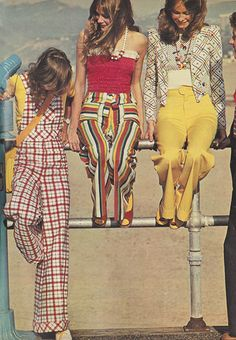 'Wear the new brights of summer – in happy patterns, catchy colors, snazzy shapes – and everything else fades into the background.' (1973) #Seventeen