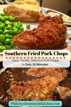BEST fried pork chops recipe EVER!! They will have your mouth watering and ready for seconds. These Southern Fried Pork Chops are ready in only 25 minutes!