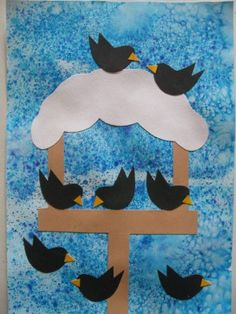 Krmítko s ptáčky - zima Animal Crafts For Kids, Winter Crafts For Kids, Winter Kids, Art For Kids, Winter Thema, January Crafts, Winter Art Projects, Bird Crafts, Elementary Art