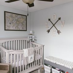 Our little lady's nursery!   gender neutral, travel theme, adventure theme, baby girl, baby boy, bedroom, crib, vintage, shabby chic, rustic, classic, timeless, original, nursery, baby's room, grey, blue, compass, map, library