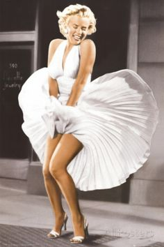 Marilyn Monroe - Sever Year Itch, White Dress, Color Poster