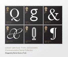 Great British Type Designers Commemorative Stamps. Designed by Darren Scott
