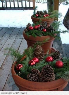 Christmas entrance idea - Pine cones, berries & terracotta