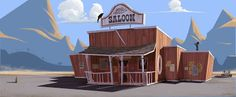 Isaac Orloff Illustration, looks like a certain place in Coconino County AZ Game Background Art, Cartoon Background, Animation Background, Street Background, Environment Concept Art, Environment Design, Cartoon House, Game Concept Art, Layout