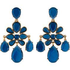 Oscar de la Renta Crystal Chandelier Earrings (11.930 RUB) ❤ liked on Polyvore featuring jewelry, earrings, gold tone chandelier earrings, earrings jewelry, blue jewelry, crystal jewellery and blue earrings