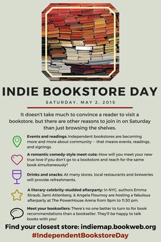 May 2nd is #IndependentBookstoreDay - and there are plenty of reasons to get out to your local store!