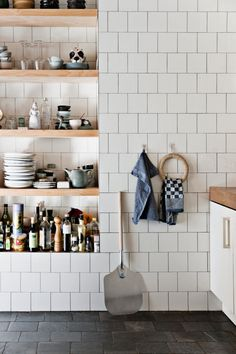 New Kitchen Flooring Trends: kitchen Flooring Ideas for the Perfect Kitchen. Get inspired with these kitchen trends and learn whether or not they're here to stay. Farmhouse Remodel, Farmhouse Kitchen Decor, Kitchen Interior, New Kitchen, Kitchen Dining, Kitchen Remodel, Farmhouse Shelving, Kitchen Ideas, Stone Kitchen