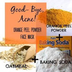 Time to say goodbye to acne and pimples. Mix orange peel powder with oatmeal and., Beauty, Time to say goodbye to acne and pimples. Mix orange peel powder with oatmeal and baking soda to make the ultimate pimple annihilation face mask. Face Scrub Homemade, Homemade Face Masks, Homemade Skin Care, Homemade Moisturizer, Homemade Blush, Homemade Beauty, Organic Homemade, Baking Soda Benefits, Pore Mask