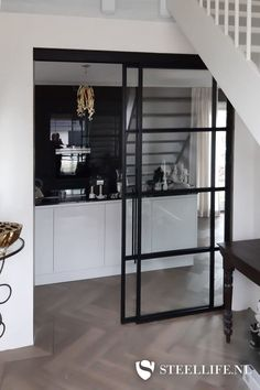 Living Room Kitchen, Living Room Decor, Door Design, House Design, Basement Flat, Bedroom Closet Design, Home And Living, Garage Windows, New Homes