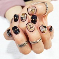 Fancy Nails, Cute Nails, Pretty Nails, Short Nail Designs, Nail Art Designs, Korea Nail Art, Garra, Japan Nail Art, Heart Nails