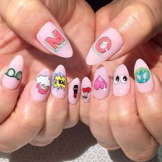 Cute Nail Art Ideas to Try - Nailschick Love Nails, Fun Nails, Pretty Nails, Kawaii Nail Art, Cute Nail Art, Nail Designs Pictures, Nail Art Designs, Manicure, Nails 2017