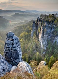 morning at Elbe Sandstone Mountains in Saxon Switzerland, Germany. by Xindaan (flickr)