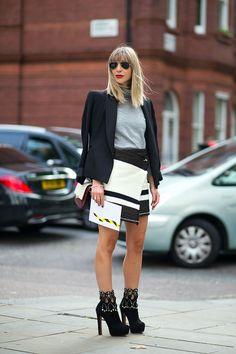Kerri Pieri in Isabel Marant skirt and Alaia boot - London Fashion Week Street Style Spring 2015