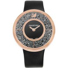 Swarovski Crystal Crystalline Black Rose Gold Tone Watch