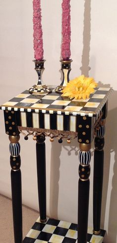 Hand Painted Black and White Accent Side Table - Square 12x12 - Plant Stand - checked or harlequin