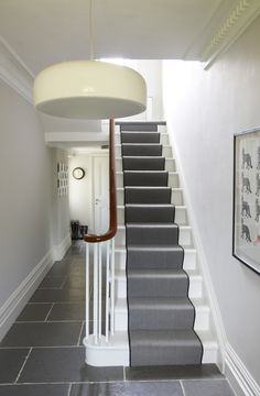 like the stair runner and the grey tiles - would they work? Grey Hallway, Tiled Hallway, Hallway Flooring, Hall Tiles, Tile Flooring, Victorian Hallway, White Wall Paint, Grey Paint, Escalier Design