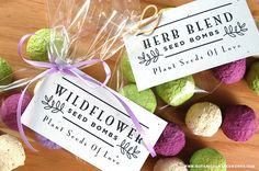 The possibilities are endless when it comes to the possible uses for our NEW Bulk Seed Bombs, but we love the idea of making DIY Seed Bomb Wedding Favors with these elegant FREE Printable Favor Tags!