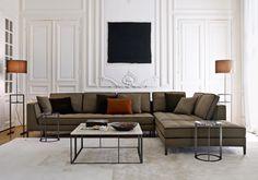 B&B Italia Elegance Furnishings for Classic Modern Living Room Design Featuring Cool Tan with Black Trim L-Shaped Sofa,. My Living Room, Living Room Decor, Living Spaces, Sofa Design, Sofa Furniture, Living Room Furniture, Furniture Ideas, Coffe Table Design, L Shaped Sofa