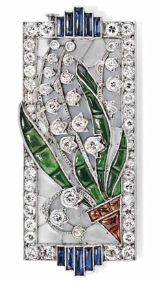 Art Decó Diamond, Amethyst, Emerald, Garnet, Enamel, and Platinum Brooch